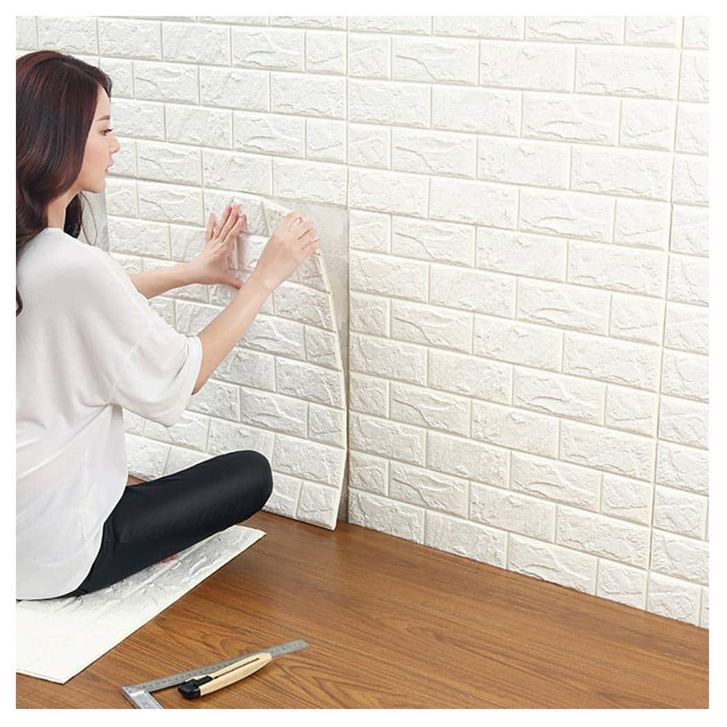 friso pared revestimiento panel 3d adhesivo ladrillo blanco